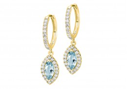 18ct Yellow Gold Aquamarine & Diamond Drop Earrings 1.90ct