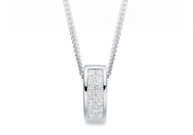 18ct White Gold Princess Cut Diamond Pendant 0.25ct