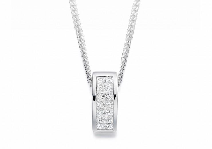 18ct White Gold Princess Cut Diamond Pendant 0.25ct