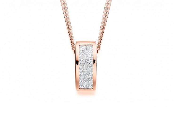 18ct Rose Gold Princess Cut Diamond Pendant 0.25ct
