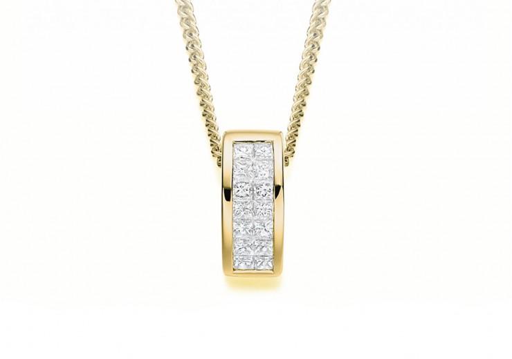 18ct Yellow Gold Princess Cut Diamond Pendant 0.25ct