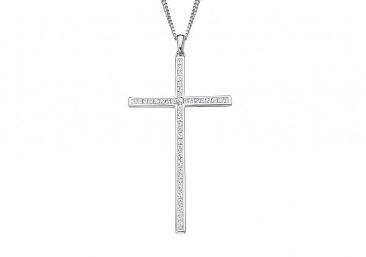 18ct White Gold Princess Cut Diamond Cross 0.70ct