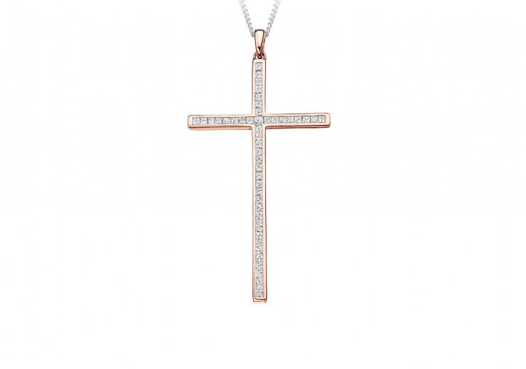 18ct Rose Gold Princess Cut Diamond Cross 0.70ct