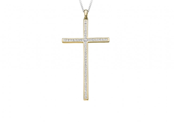 18ct Yellow Gold Princess Cut Diamond Cross 0.70ct