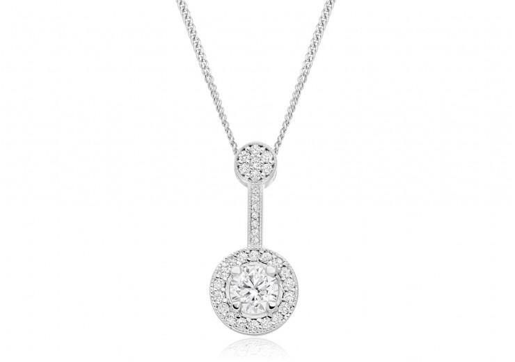 18ct White Gold Round Brilliant Cut Diamond Pendant 0.75ct