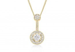 18ct Yellow Gold Round Brilliant Cut Diamond Pendant 0.75ct