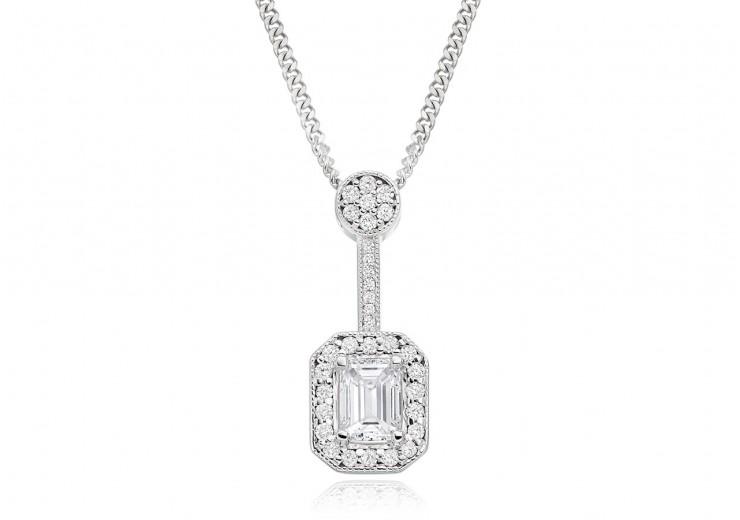 18ct White Gold Emerald Cut Diamond Pendant 0.75ct