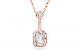 18ct Rose Gold Emerald Cut Diamond Pendant 0.75ct