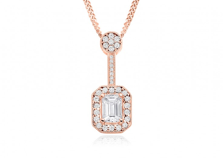 18ct Rose Gold Emerald Cut Diamond Pendant 0.75ct