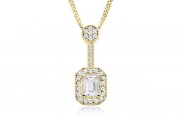 18ct Yellow Gold Emerald Cut Diamond Pendant 0.75ct