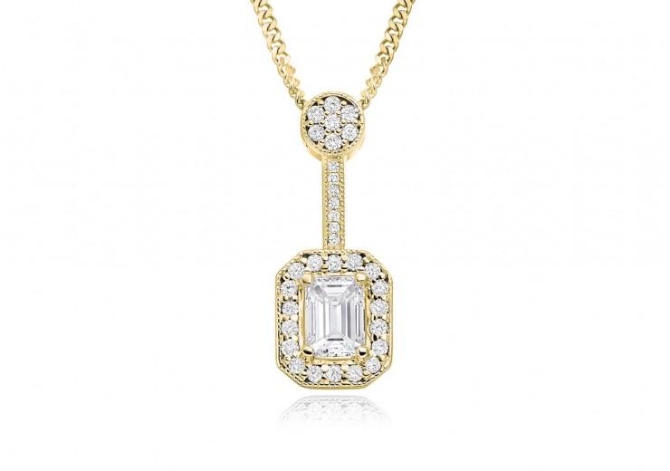 18ct Yellow Gold Emerald Cut Diamond Pendant 0.75ct