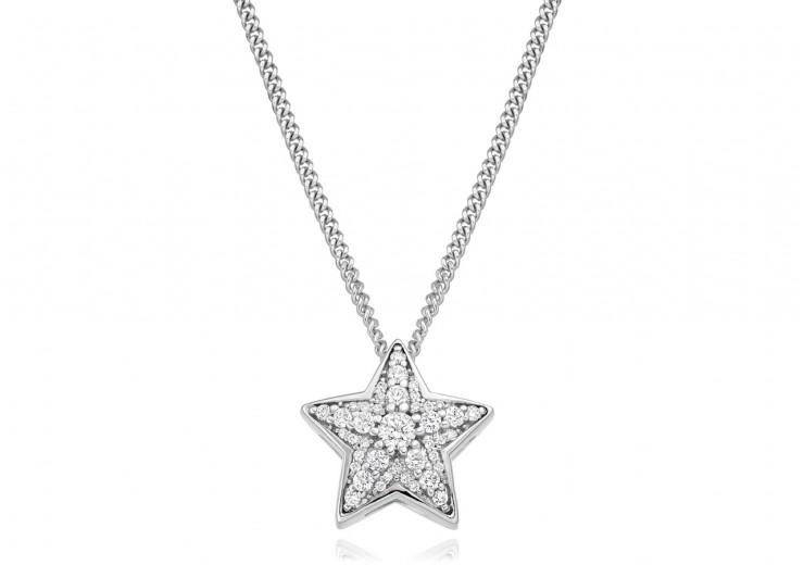 9ct White Gold Diamond Star Pendant 0.27ct