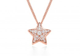 9ct Rose Gold Diamond Star Pendant 0.27ct