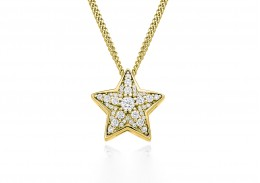 9ct Yellow Gold Diamond Star Pendant 0.27ct
