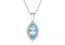 18ct White Gold Aquamarine & Diamond Pendant 1.74ct