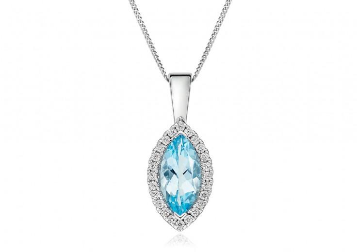 18ct White Gold Aquamarine & Diamond Pendant 1.74ct