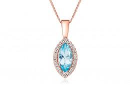 18ct Rose Gold Aquamarine & Diamond Pendant 1.74ct