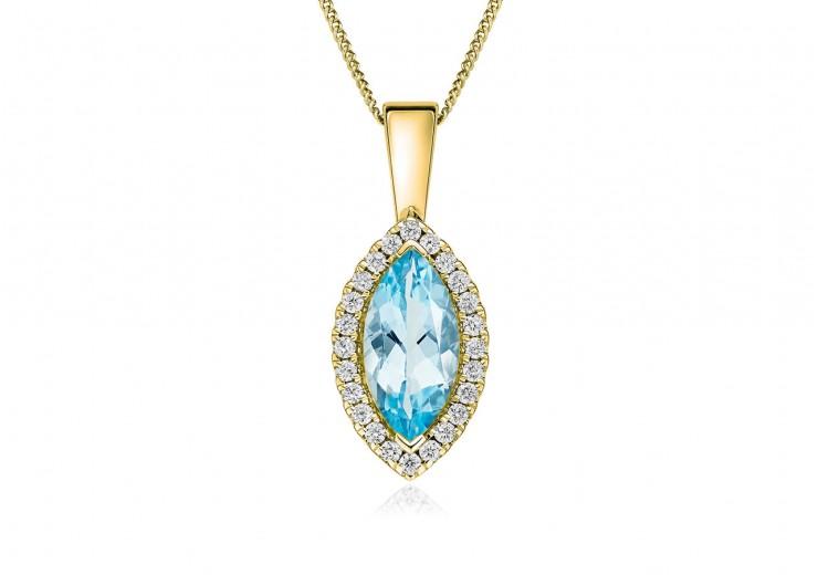 18ct Yellow Gold Aquamarine & Diamond Pendant 1.74ct