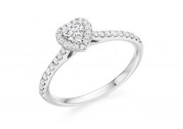 18ct White Gold Heart & Round Brilliant Cut Diamond Halo Ring 0.45ct