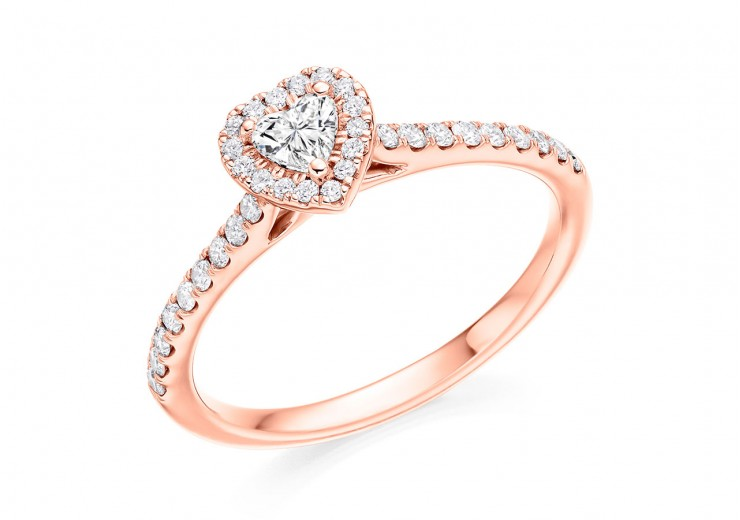 18ct Rose Gold Heart & Round Brilliant Cut Diamond Halo Ring 0.45ct