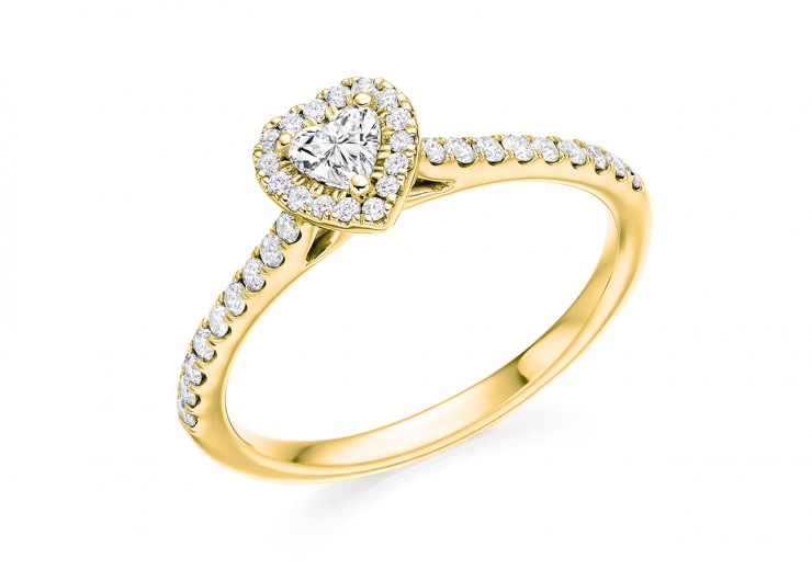 18ct Yellow Gold Heart & Round Brilliant Cut Diamond Halo Ring 0.45ct