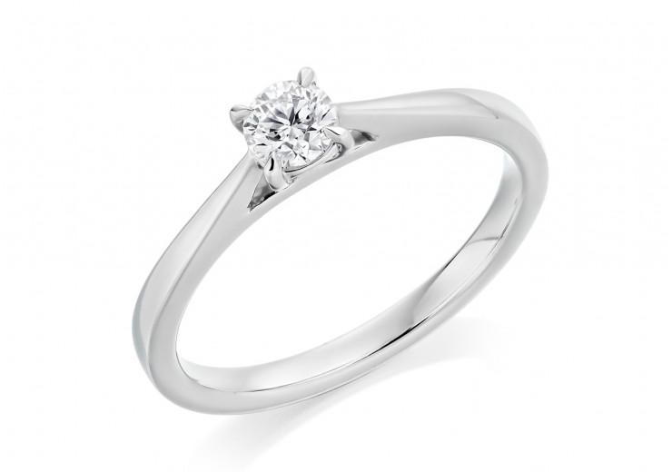 18ct White Gold Round Brilliant Cut Diamond Solitaire Ring 0.25ct