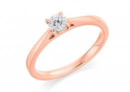 18ct Rose Gold Round Brilliant Cut Diamond Solitaire Ring 0.25ct