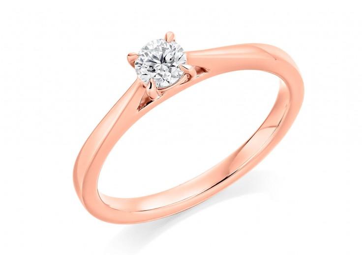 18ct Rose Gold Round Brilliant Cut Diamond Solitaire Ring 0.25ct