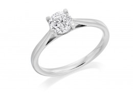 18ct White Gold Round Brilliant Cut Diamond Solitaire Ring 0.60ct