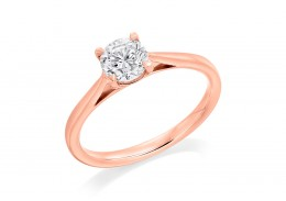 18ct Rose Gold Round Brilliant Cut Diamond Solitaire Ring 0.60ct