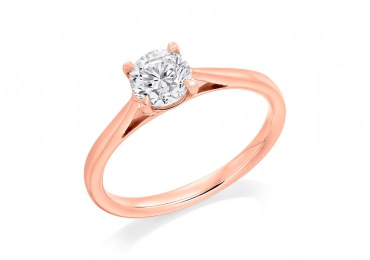 18ct Rose Gold Round Brilliant Cut Diamond Solitaire Ring 0.60ct