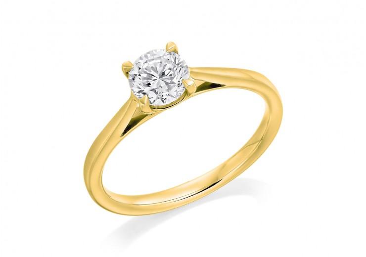 18ct Yellow Gold Round Brilliant Cut Diamond Solitaire Ring 0.60ct