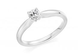 18ct White Gold Round Brilliant Cut Diamond Solitaire Ring 0.33ct