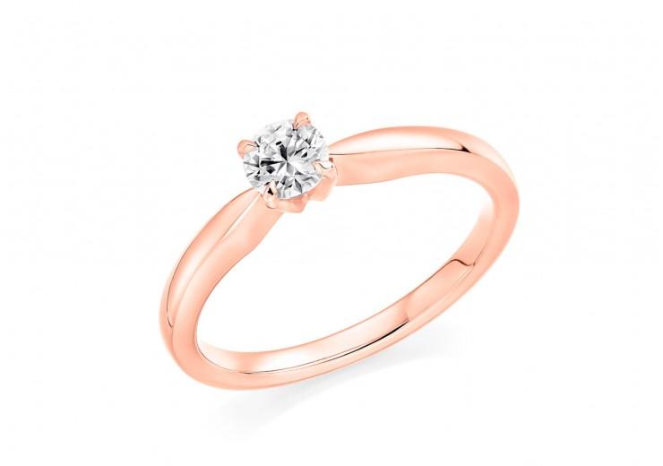 18ct Rose Gold Round Brilliant Cut Diamond Solitaire Ring 0.33ct
