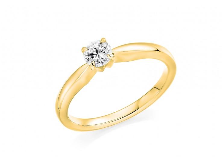 18ct Yellow Gold Round Brilliant Cut Diamond Solitaire Ring 0.33ct