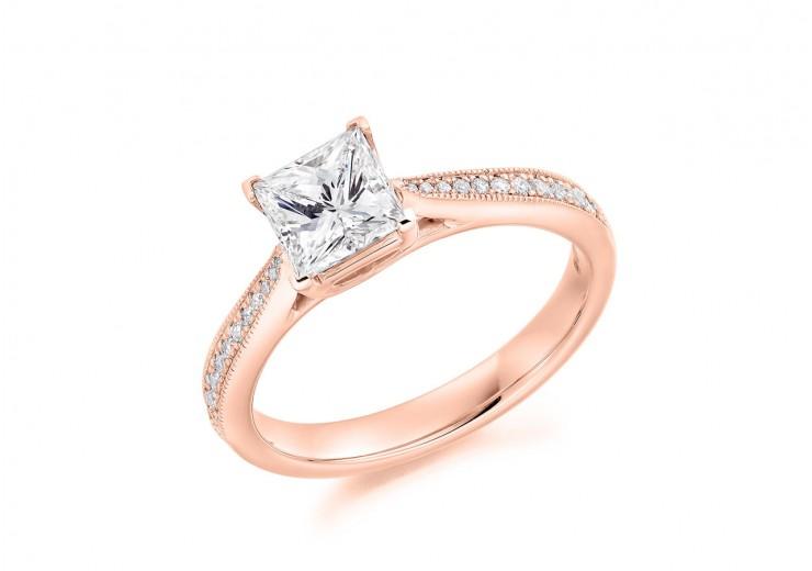 18ct Rose Gold Princess & Round Brilliant Cut Diamond Solitaire Ring 1.18ct