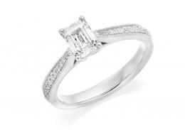 18ct White Gold Emerald & Round Brilliant Cut Diamond Solitaire Ring 0.91ct