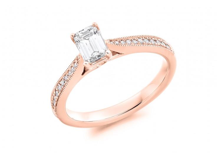 18ct Rose Gold Emerald & Round Brilliant Cut Diamond Solitaire Ring 0.89ct