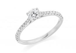 18ct White Gold Round Brilliant Cut Diamond Solitaire Ring 0.56ct
