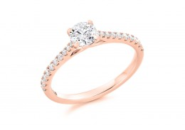 18ct Rose Gold Round Brilliant Cut Diamond Solitaire Ring 0.56ct