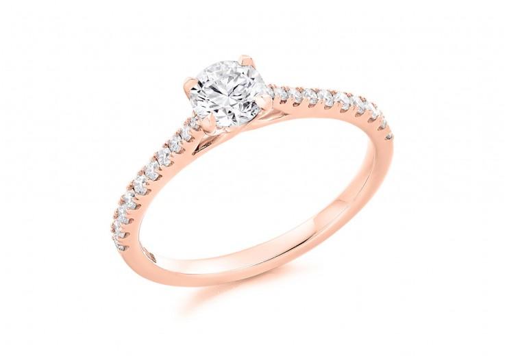 18ct Rose Gold Round Brilliant Cut Diamond Solitaire Ring 0.56ct
