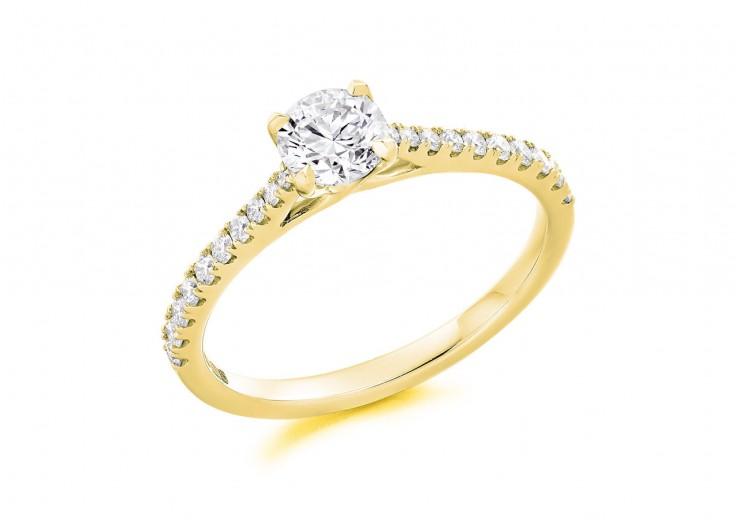 18ct Yellow Gold Round Brilliant Cut Diamond Solitaire Ring 0.56ct