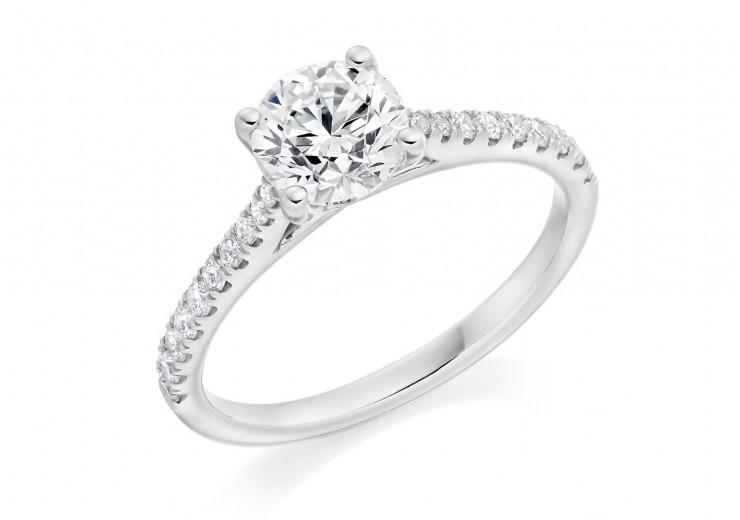 18ct White Gold Round Brilliant Cut Diamond Solitaire Ring 0.98ct