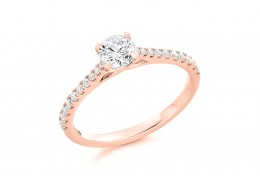 18ct Rose Gold Round Brilliant Cut Diamond Solitaire Ring 0.98ct