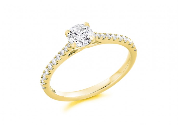 18ct Yellow Gold Round Brilliant Cut Diamond Solitaire Ring 0.98ct