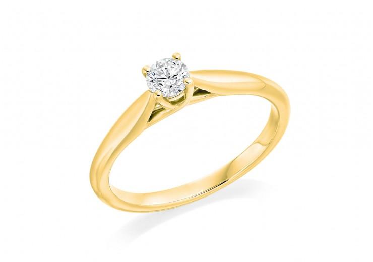 18ct Yellow Gold Round Brilliant Cut Diamond Solitaire Ring 0.25ct