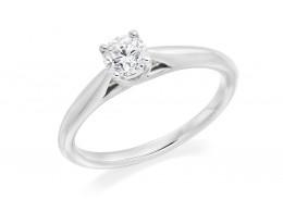18ct White Gold Round Brilliant Cut Diamond Solitaire Ring 0.40ct