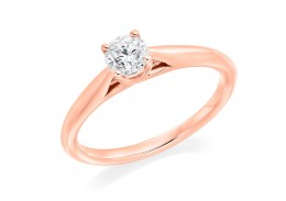 18ct Rose Gold Round Brilliant Cut Diamond Solitaire Ring 0.40ct