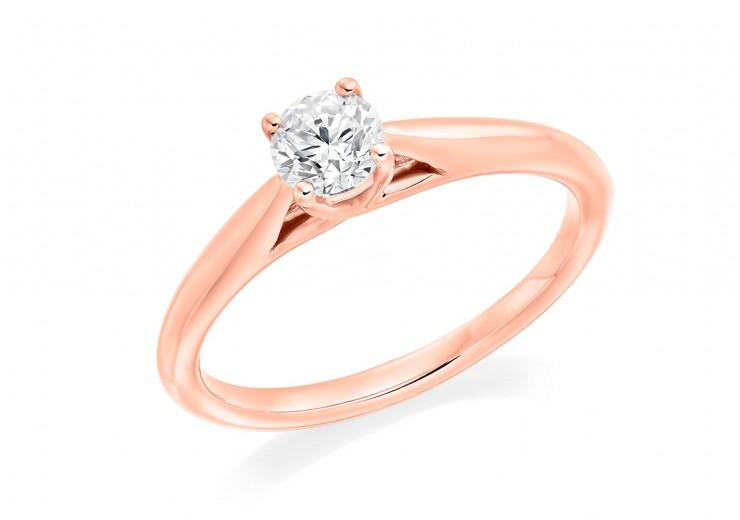 18ct Rose Gold Round Brilliant Cut Diamond Solitaire Ring 0.40ct