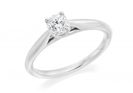 18ct White Gold Round Brilliant Cut Diamond Solitaire Ring 0.50ct